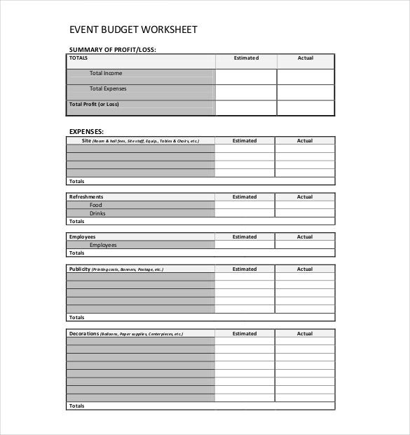 Elegant Event Budget Worksheet Example