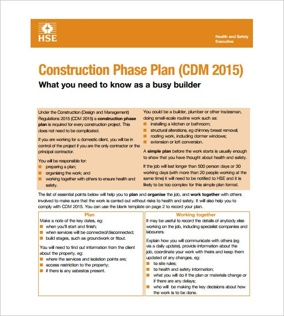 construction phase health and safety plan free pdf template