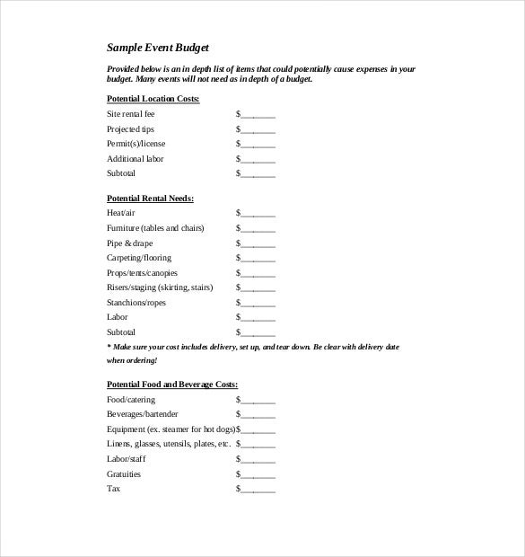 sample event budget template pdf