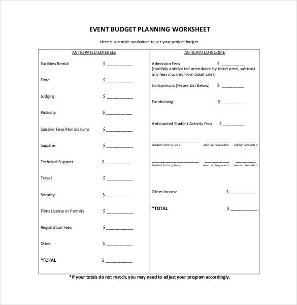 7 Event Budget Template Free Sample Example Format Download