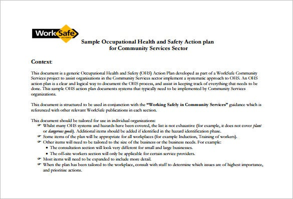 Health And Safety Plan Templates  Free Sample Example Format