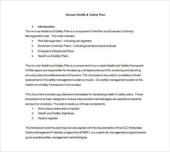 annual health safety plan free word template download