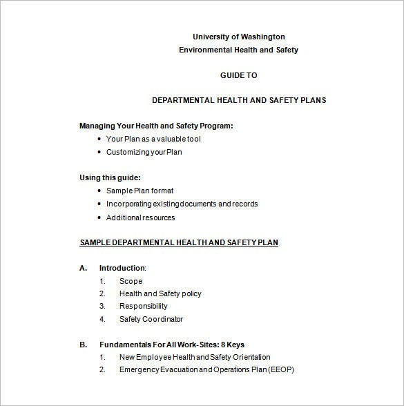Departmental Safety And Health Plan Word Format Free Download