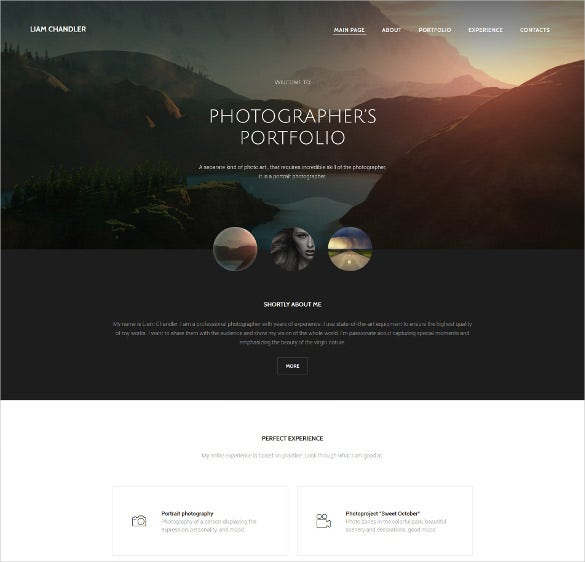photographer portfolio phot website template