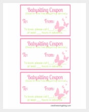 Easy To Edit Baby Sitting Coupon Sheet