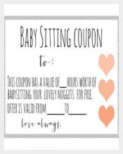 Baby Sitting Coupon With Love Symbols Download