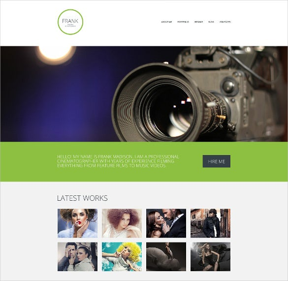 superb photographer portfolio website template