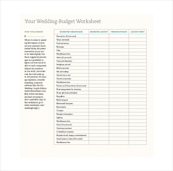 Wedding Budget Worksheet Botanical Paperworks Free Printable