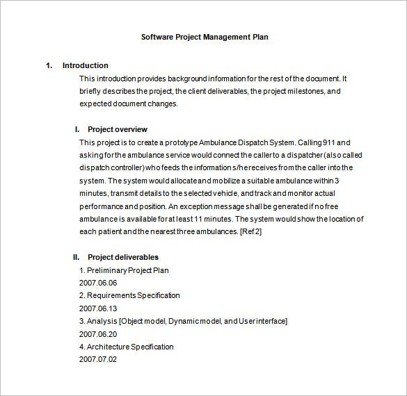 Software Project Management Plan Word Template Free Downlad  Project Plan Word Template