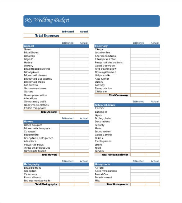 22+ Wedding Budget Templates – Free Sample, Example, Format