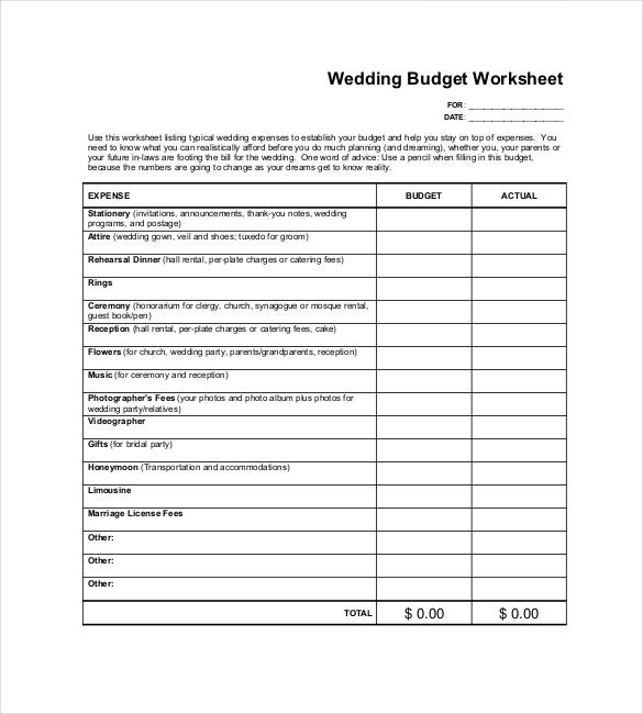 sample wedding worksheet pdf download