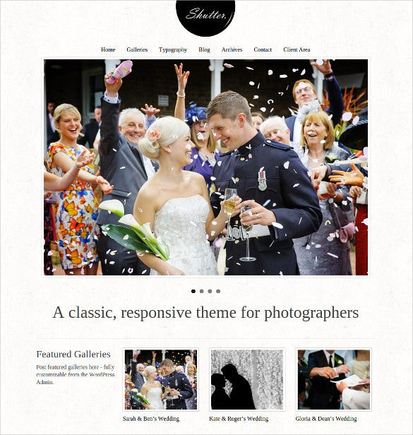 wedding photos wordpress website template