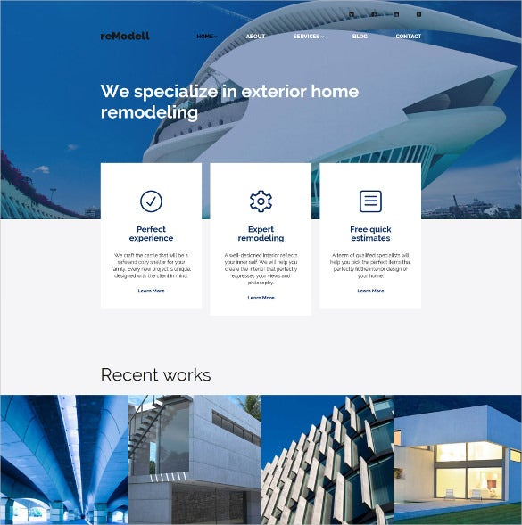 architect scrolling wordpress website theme