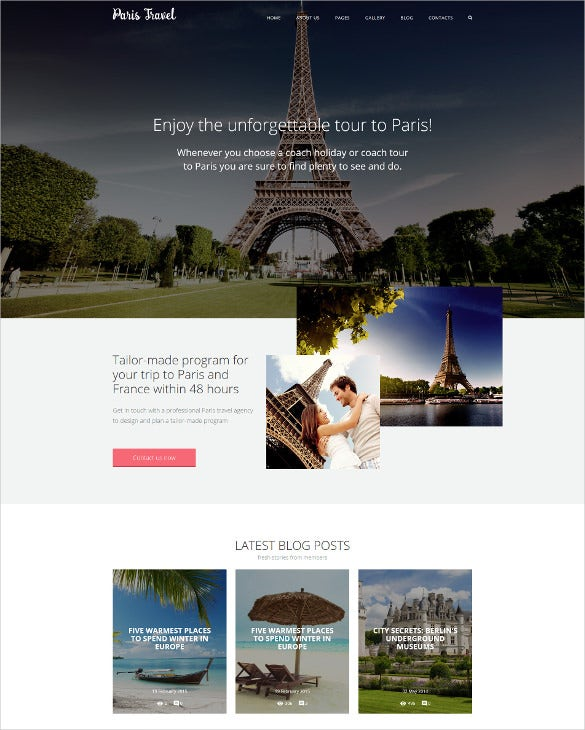travel scrolling joomla website template