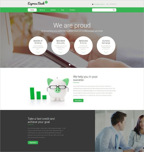 express bank scrolling drupal website template
