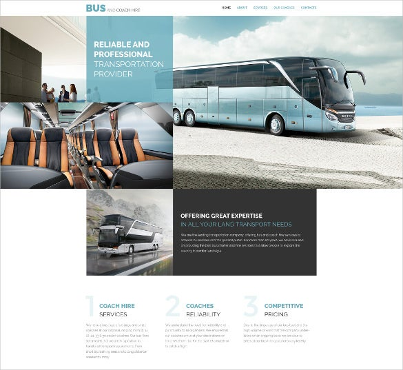 transportation responsive scrolling website template