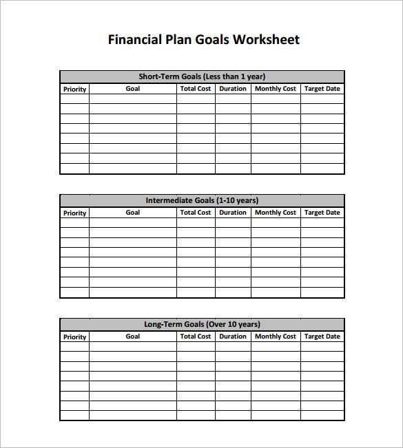personal financial plan pdf template free download