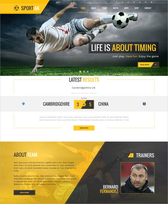 soccer club scrolling joomla website template