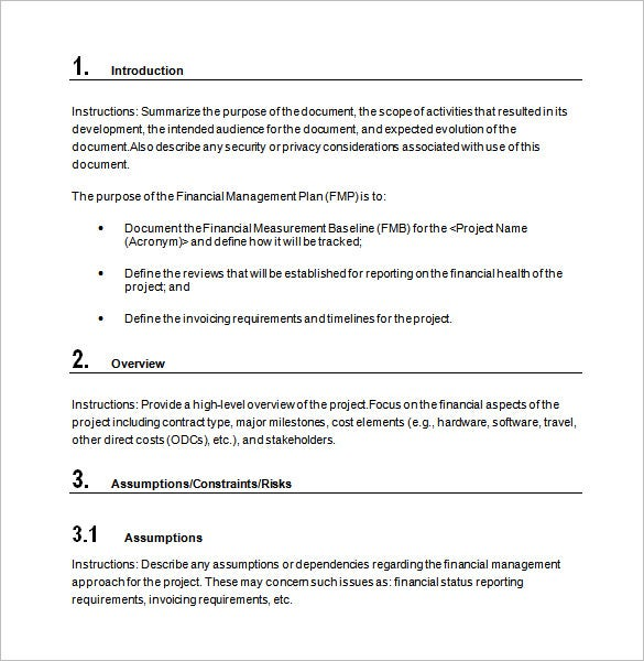 financial management plan word template free download