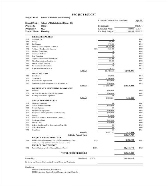 Sample Construction Budget Construction Budget Form Sample