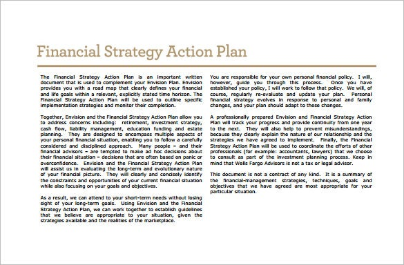 financial strategic action plan free pdf template download