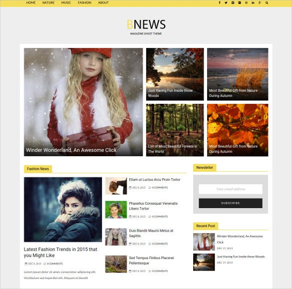 responsive scrollinng news ghost website theme