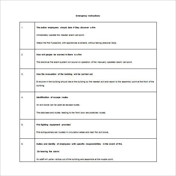 fire and emergency evacuation plan word free download
