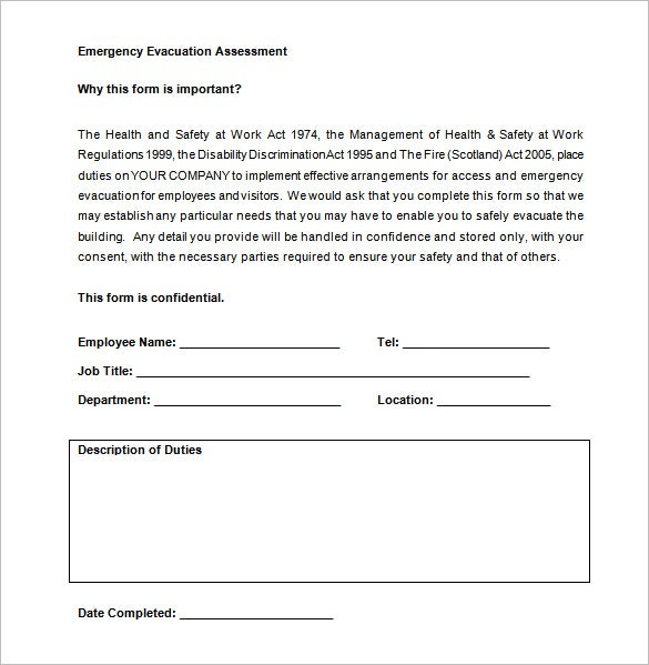 Personal Emergency Evacuation Plan Free Word Template