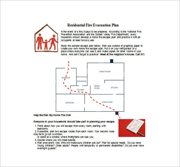 residential fire evacuation plan free word template download