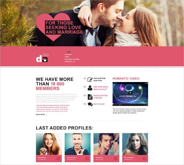 pretty dating muse website theme