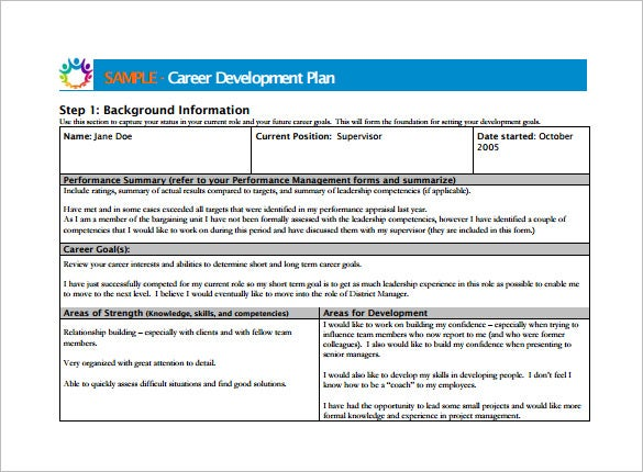 Career development plan template 9 free word pdf for District professional development plan template