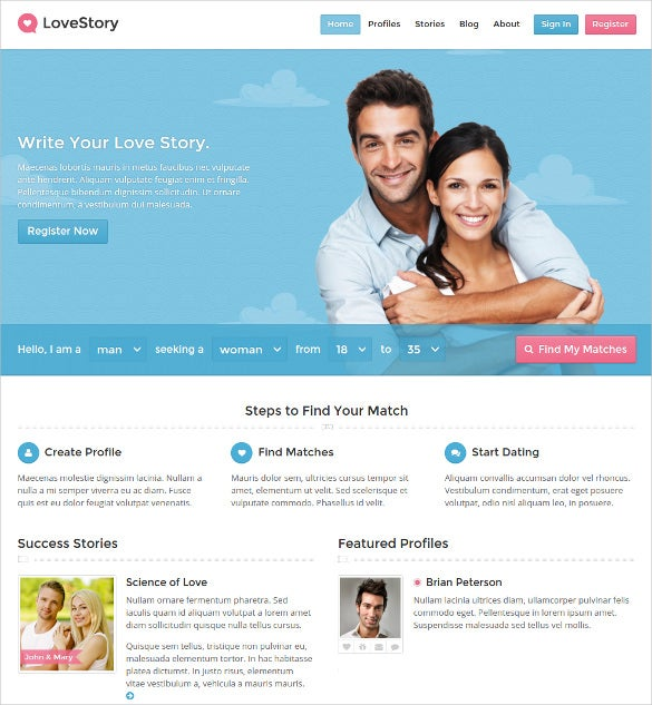 lovestory dating wordpress website theme