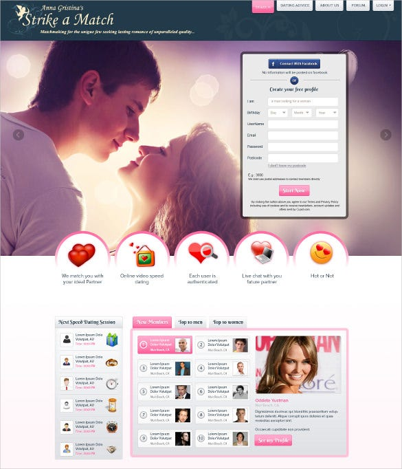 best dating website template free