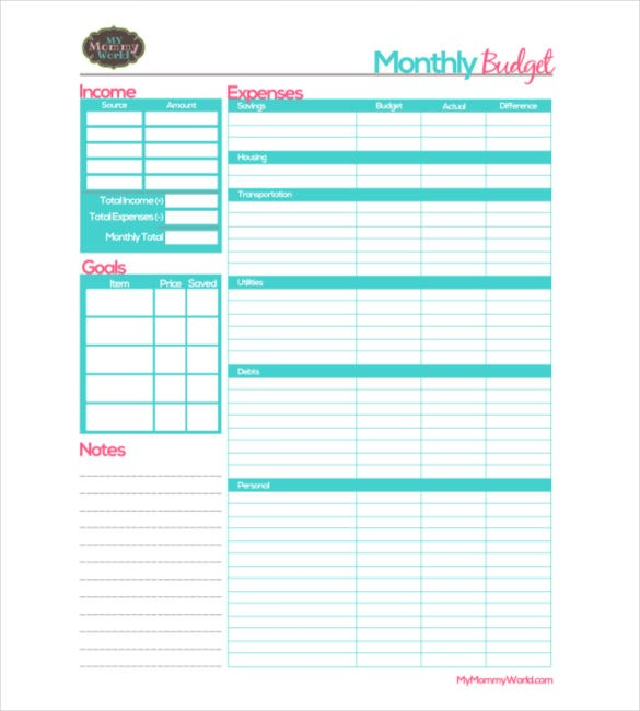 Sample Monthly Budget Template Free Download