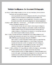 Blank Multiple Intelligences Annotated Bibliography Template Word Document