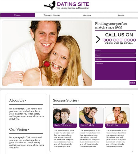 free dating site templates