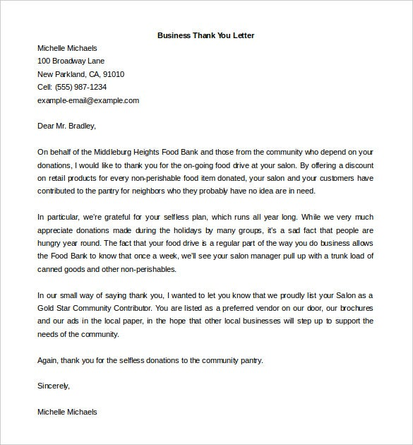 17 thank you letter templates free sample example format download download business thank you letter sample word doc expocarfo Choice Image