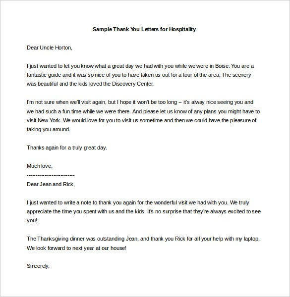 10 Thank You Letter Templates Free Sample Example Format – Personal Thank You Letter