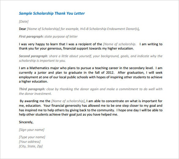 formal scholarship thank you letter template pdf sample