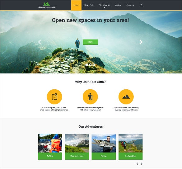 hiking responsive sports website template