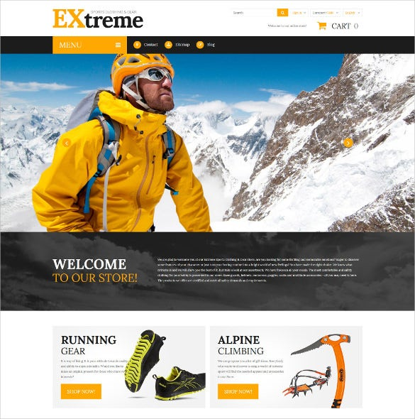 extreme sports clothing prestashop website theme