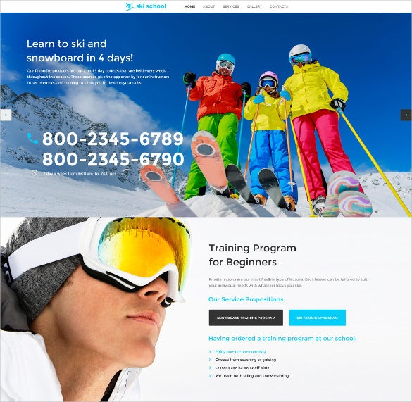 skiing responsive sports website template