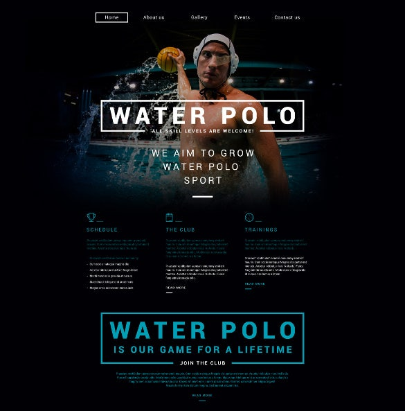 polo responsive sports website theme