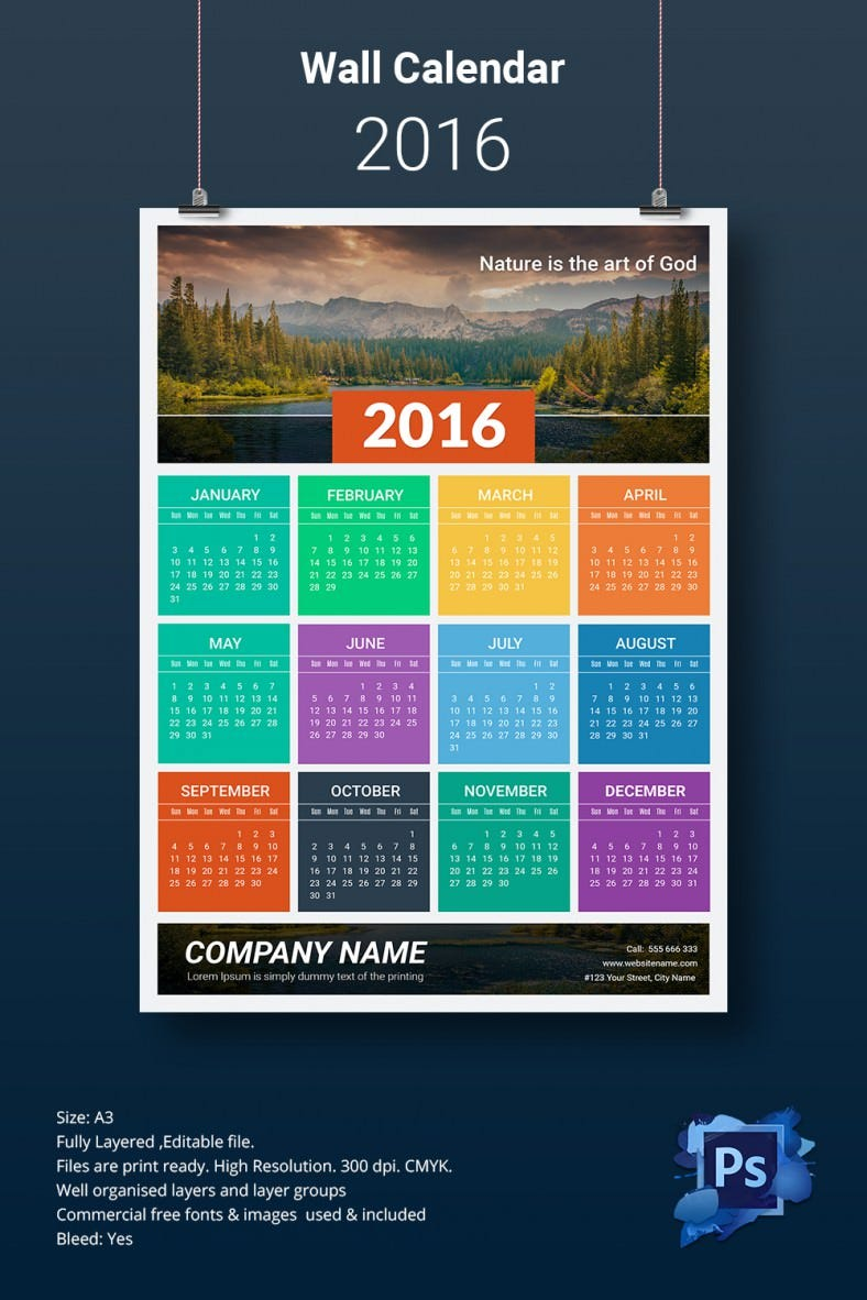Beautiful A3 Wall Calendar Template