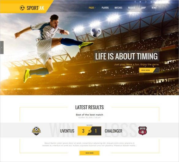 football sports wordpress website theme