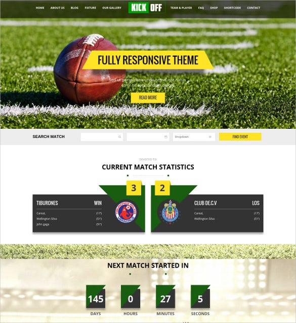 kickoff sports html website theme