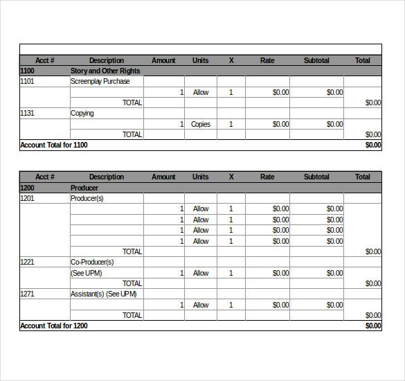 Sample Film Budget Template Excel Format