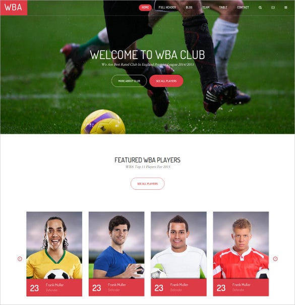 responsive football sports html5 website template