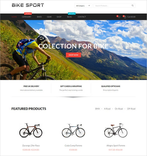 bike sport woocommerce website template