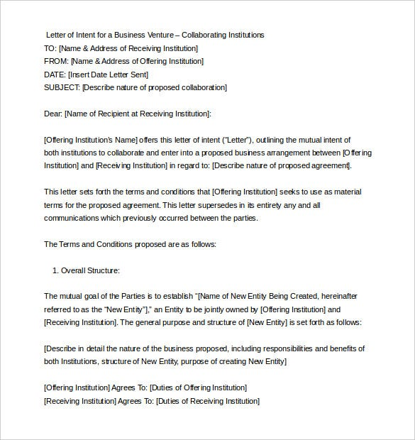 Business Letter Of Intent Sample Format Word Doc With Free Letter Of Intent Sample
